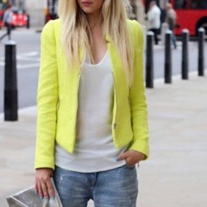 Zara neon yellow blazer with zips XS